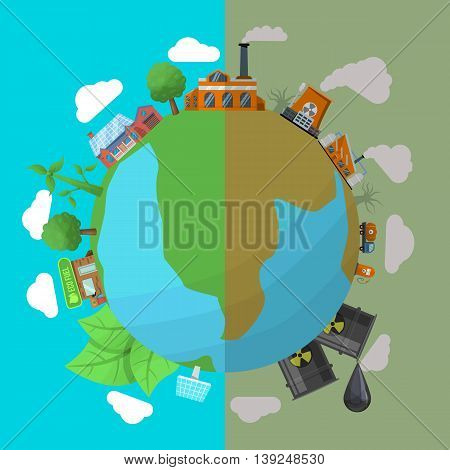 Environmental colored pollution poster two types of planet before and after pollution vector illustration