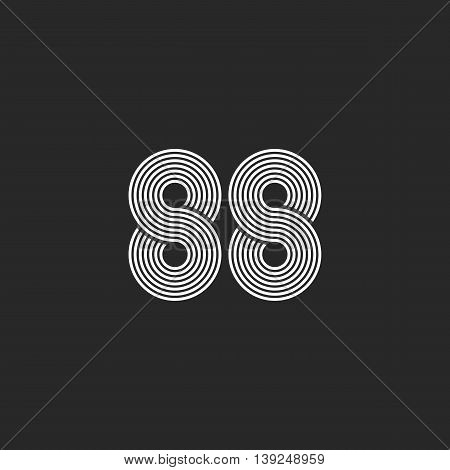 Number 88 Hipster Logo, Monogram Black And White Intersection Thin Line, Two Numeral 8, Business Car