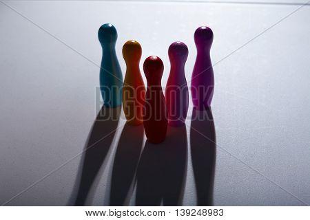 Colorful plastic skittles