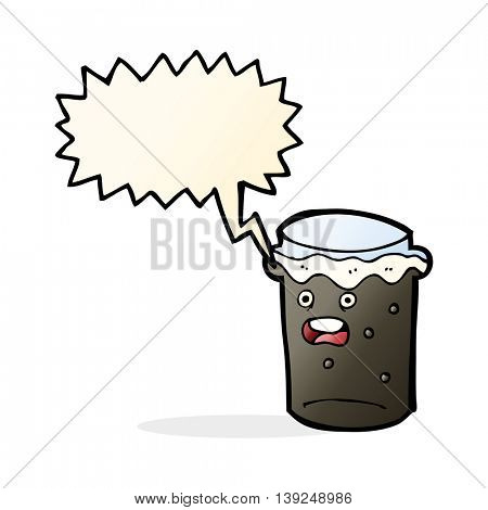 cartoon glass of stout beer with speech bubble