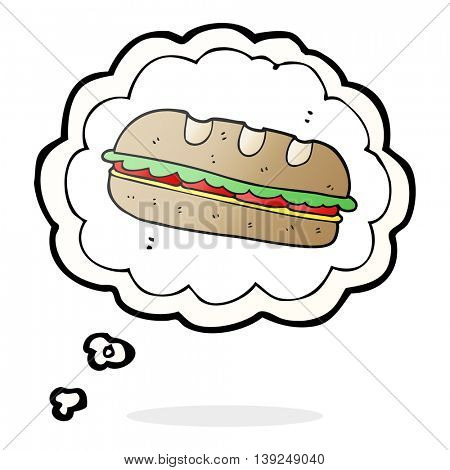 freehand drawn thought bubble cartoon huge sandwich