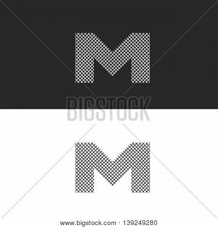 Logo Letter M Monogram, Black And White Intertwined Thin Lines, Hipster Emblem For Business Cards