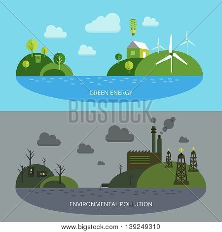 Ecological climate banners with green energy on blue background environmental pollution in grey tones isolated vector illustration