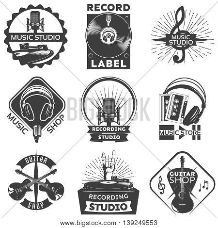 Isolated black music shop label set with descriptions of guitar shop music studio recording studio vector illustration