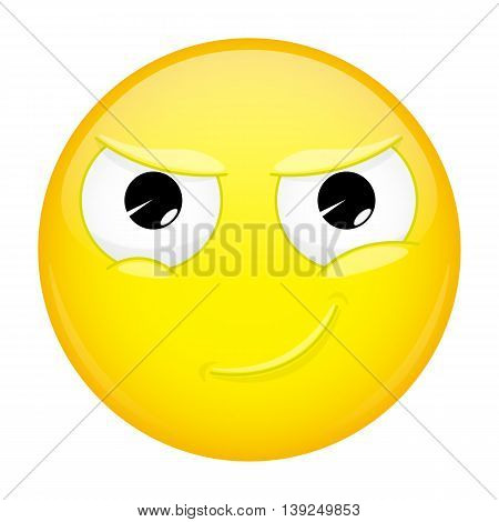 Smiling emoji. Smirk emotion. Cunning emoticon. Vector illustration smile icon.