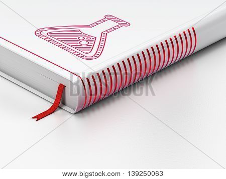 Science concept: closed book with Red Flask icon on floor, white background, 3D rendering