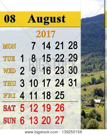 calendar for August 2017 on the background of summer landscape with mountain river