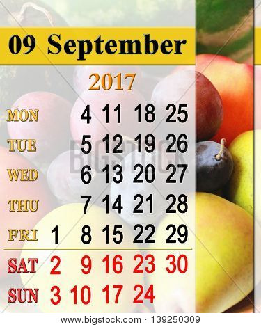 calendar for September 2017 with plums pears and watermelons