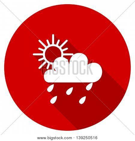 rain vector icon, red modern flat design web element