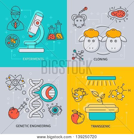 Biotechnology icon set with descriptions of experiments cloning genetic engineering and transgenic vector illustration