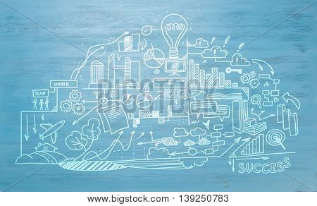 Effective business planning concept on blue wooden background
