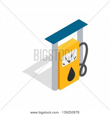 Petrol gas station icon in isometric 3d style isolated on white background