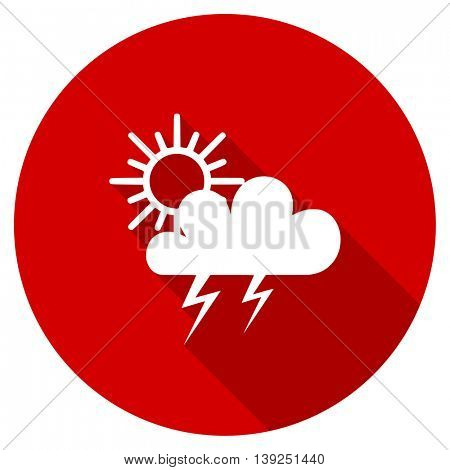 storm vector icon, red modern flat design web element