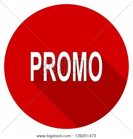 promo red vector icon, circle flat design internet button, web and mobile app illustration