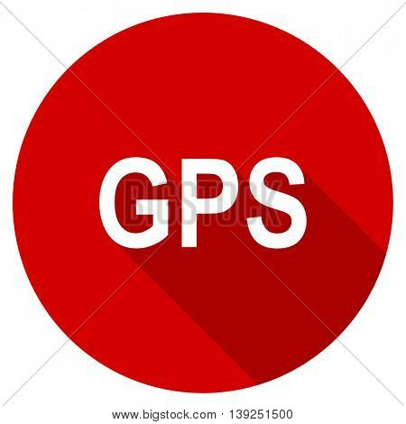 gps red vector icon, circle flat design internet button, web and mobile app illustration