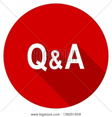 question answer red vector icon, circle flat design internet button, web and mobile app illustration