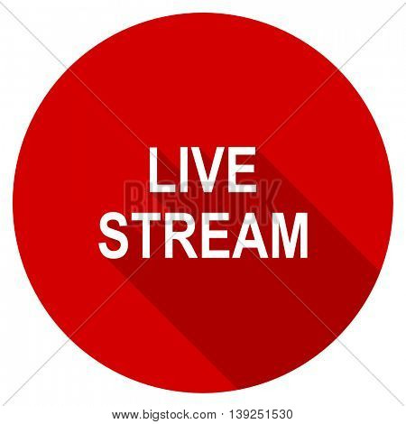 live stream red vector icon, circle flat design internet button, web and mobile app illustration