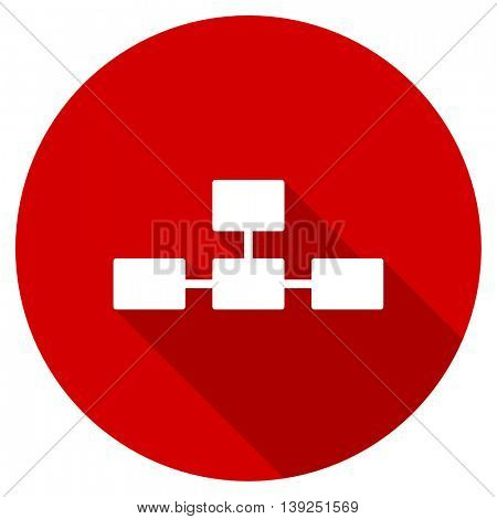 database red vector icon, circle flat design internet button, web and mobile app illustration