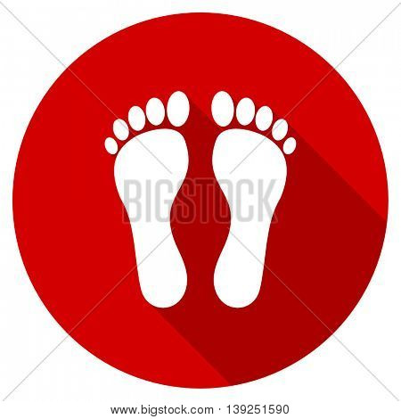 foot red vector icon, circle flat design internet button, web and mobile app illustration