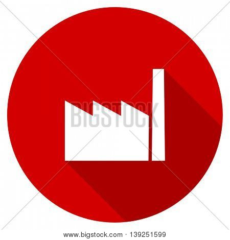 factory red vector icon, circle flat design internet button, web and mobile app illustration