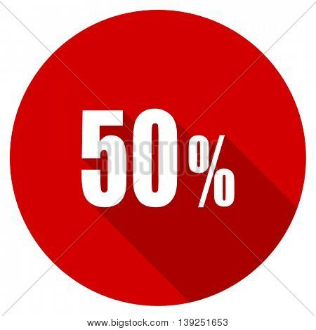 50 percent red vector icon, circle flat design internet button, web and mobile app illustration
