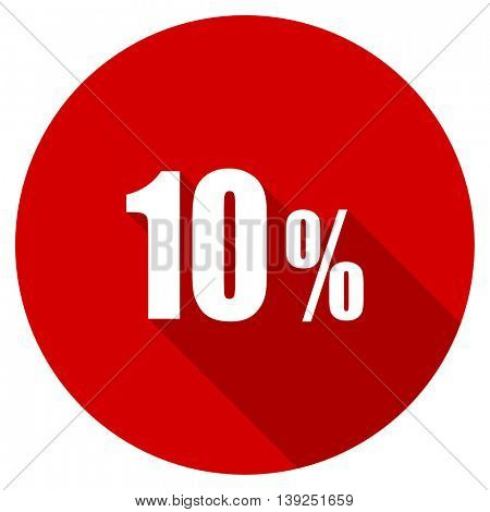10 percent red vector icon, circle flat design internet button, web and mobile app illustration