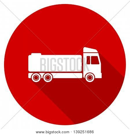truck red vector icon, circle flat design internet button, web and mobile app illustration