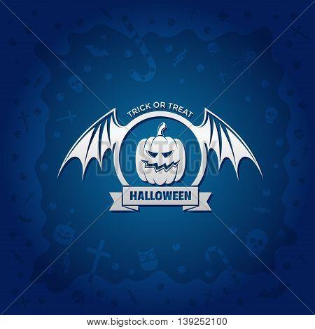 Beautiful Halloween background with golden pumpkin design and skulls crosses ghosts zombies coffins bats and candies