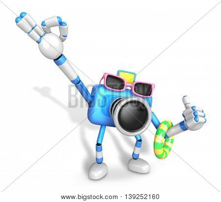 Blue Camera Character On Their Vacation Journey. Create 3D Camera Robot Series.