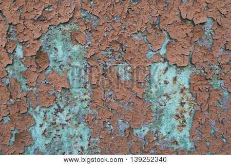 texture rusty metal covered with brown and green old paint
