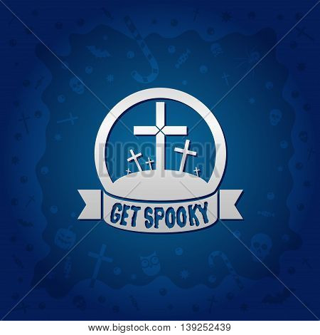 Beautiful Halloween background with golden graveyard crosses design and skulls crosses ghosts zombies coffins bats and candies