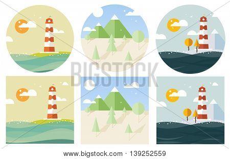 hipster vector landscape flat style
