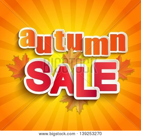 Autumn sale lettering with autumn leaves on a vintage background. Abstract vector illustration .