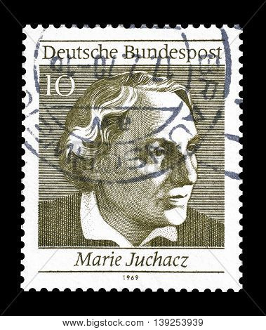 GERMANY - CIRCA 1969 : Cancelled postage stamp printed by Germany, that shows Marie Juchacz.