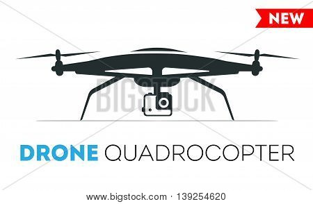 Drone quadrocopter vector Icon. Flight controlled security quadrocopters