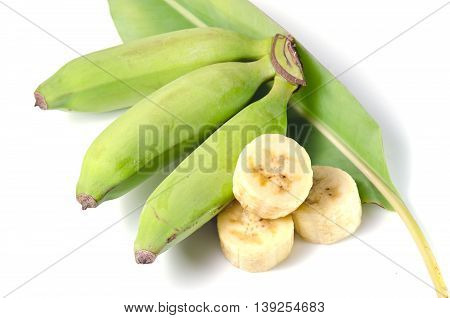Banana Fruit Sliced With Leaf Isolated On White