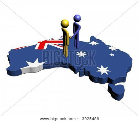 abstract people shaking hands on Australia map flag illustration