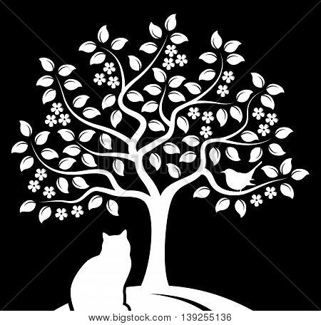 vector flowering tree with bird and cat isolated on black background