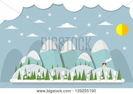 Winter vacation flat landscape. Landscape in flat design with house and snowing. Snow time concept background. Mountain resort scene.