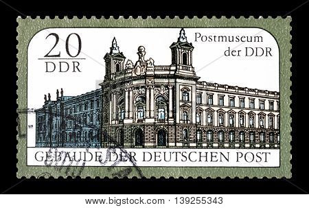 GERMAN DEMOCRATIC REPUBLIC - CIRCA 1988 : Cancelled postage stamp printed by German Democratic Republic, that shows Postal museum.