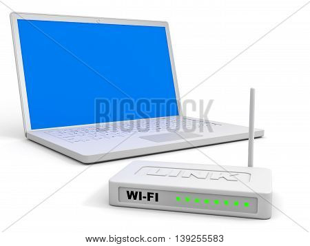Wi-fi Router And Laptop.