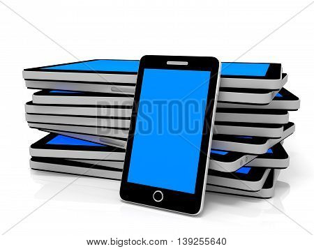Tablet Pc And Smart Phone With Blue Screen.