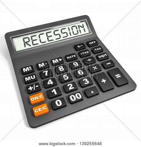 Calculator With Recession On Display.