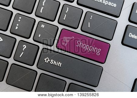 Computer Keyboard With Online Shopping Concept.