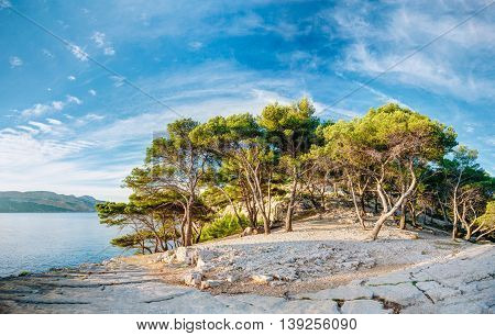 Panorama Of Beautiful Nature Of Calanques On The Azure Coast Of France. Calanques - A Deep Bay Surrounded By High Cliffs.