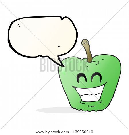 freehand drawn speech bubble cartoon grinning apple
