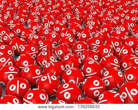 Red discount balls on white background. 3D illustration.