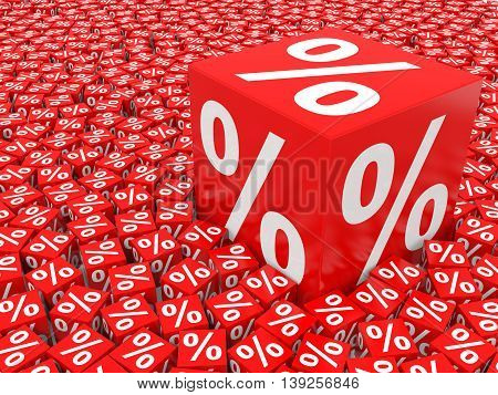 Big red discount cube on white background. 3D illustration.