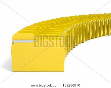 Row of folders icon on white background. 3D illustration.