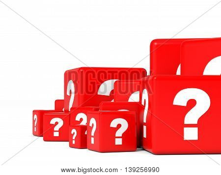 Cubes with question sign on white background. 3D illustration.